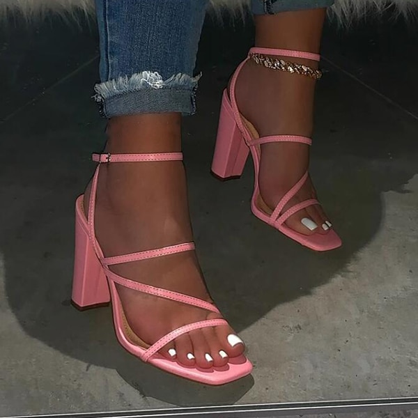 AliExpress - Pink New Summer Sandals Comfortable and Versatile Open-toe High-heeled Sandal Casual Outdoor Solid Color Plus Size Shoes Sandals