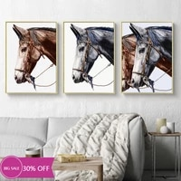 Toile de decoration de noel  peinture danimaux  affiches murales avec cheval  image artistique pour salon  decoration de maison