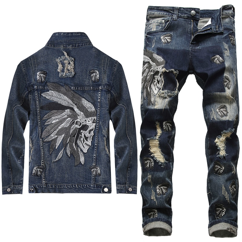 2020 European Style Men Sets Embroidered Indian Stretch Denim Blue 2 Pieces Maching Set Jacket and H