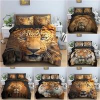 fashion digital printing lion leopard tiger bedding set children bed linen set 3d animal bedclothes bed duvet cover set home