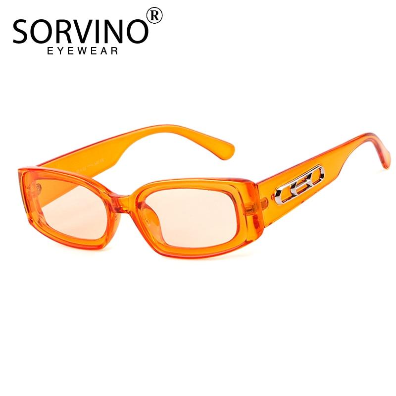 Sorvino na moda pequeno laranja retangular óculos de sol feminino 90s retro senhora minúsculo quadrado retângulo vermelho óculos de sol máscaras sp104