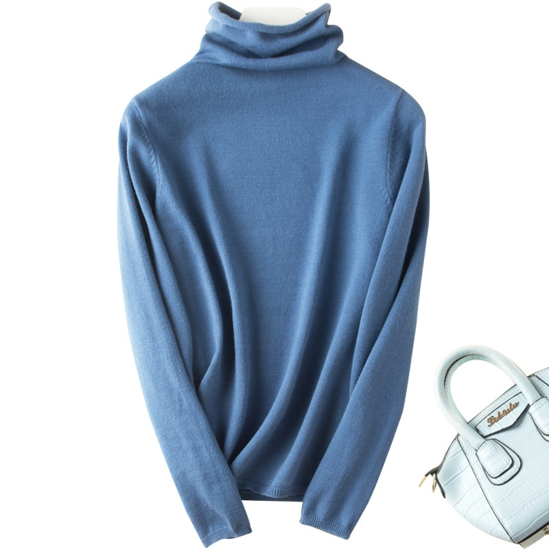Turtleneck pullover sweater women's autumn and winter 2021 tops Slim women's bottoming shirt loose soft warm sweater basic