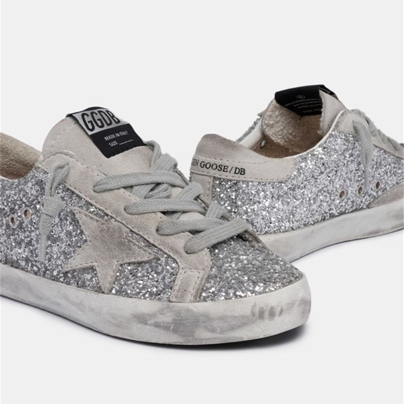 New Spring and Summer First Layer Cowhide Childrens Old Small Dirty Shoes for Boys Girls Silver Sequins Kids Sneakers CS185