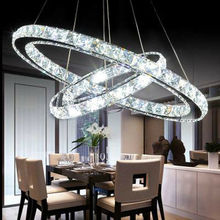 Yonntech 36W moderne cristal suspension plafonnier avec 2 LED anneau lumières lustre