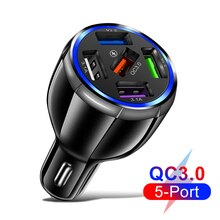 5 Ports Charger in Car Quick USB Car Charger Mobile Phone Fast Charging Charger Adapter in Car For i