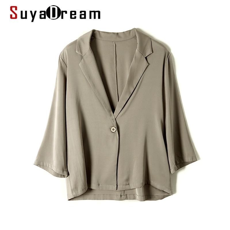 SuyaDream женский Шелковый Блейзер, Шелковый двубортный пиджак с рукавами 3/4, летние шикарные блейзеры 2021, весенне-осенние куртки
