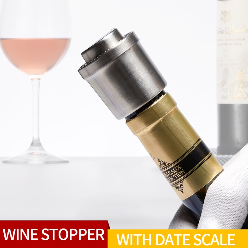 Stainless Steel Wine Bottle Stopper Silicone Wine Stopper Tool Cork Bottle Cap Bar Counter Wine Accessories Wine Vacuum Stopper new high quality stainless steel wine stopper portable durable stainless steel wine stopper bar accessories support wholesale
