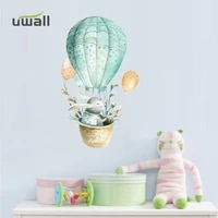 hot air balloon bunny wall stickers for kids room bedroom decor wall decoration cabinet door self adhesive sticker home decor