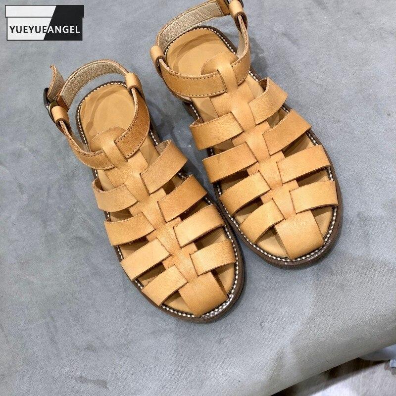 أحذية نسائية رومانية غير رسمية من Harajuku لعام 2021 مصنوعة يدويًا من جلد البقر صنادل نسائية صيفية كلاسيكية مصنوعة يدويًا من جلد البقر