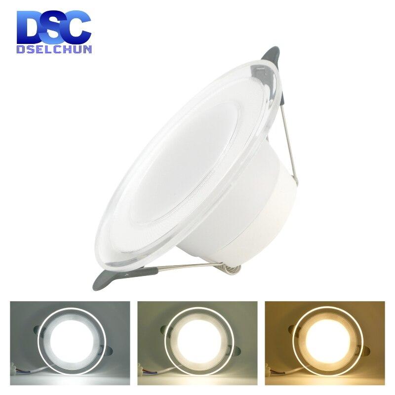 Diodo emissor de luz downlight 6w conduziu a lâmpada 220v spotlight recessed round painel luz 3 cores mutável iluminação interior para baixo luz