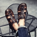 Classic High quality Cow Leather Sandals Summer Outdoor Handmade Men Sandals Fashion Comfortable Men Beach leather shoes size48