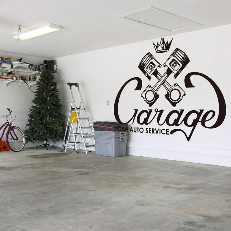 Garage Piston Repair Studio Crown  Wall Sticker Car Auto  Service Valve Wall Decal Vinyl Shop Home Decor