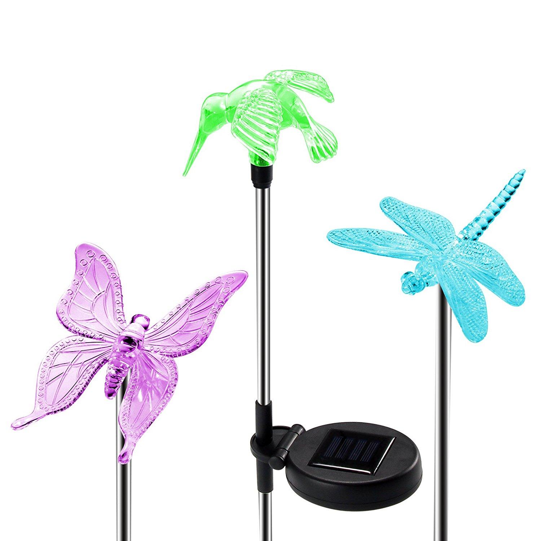 Paquete de 3 LED Solar colibrí mariposa bombilla de libélula Multi Color cambiante camino de jardín lámpara paisaje de exterior camino lámpara de césped