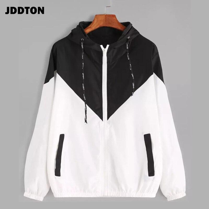 JDDTON Women's Basic Hooded Jacket Patchwork Long Sleeve Clothing Multicolor Autumn Coat Female Casu