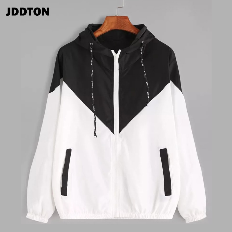JDDTON Womens Basic Hooded Jacket Patchwork Long Sleeve Clothing Multicolor Autumn Coat Female Casual Windbreaker EU Size JE269