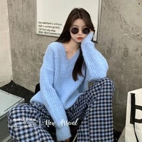 autumn winter loose cusaul v neck pullovers sweater women straight sleeve knitting woolsweater mujer soft outwear keep warm