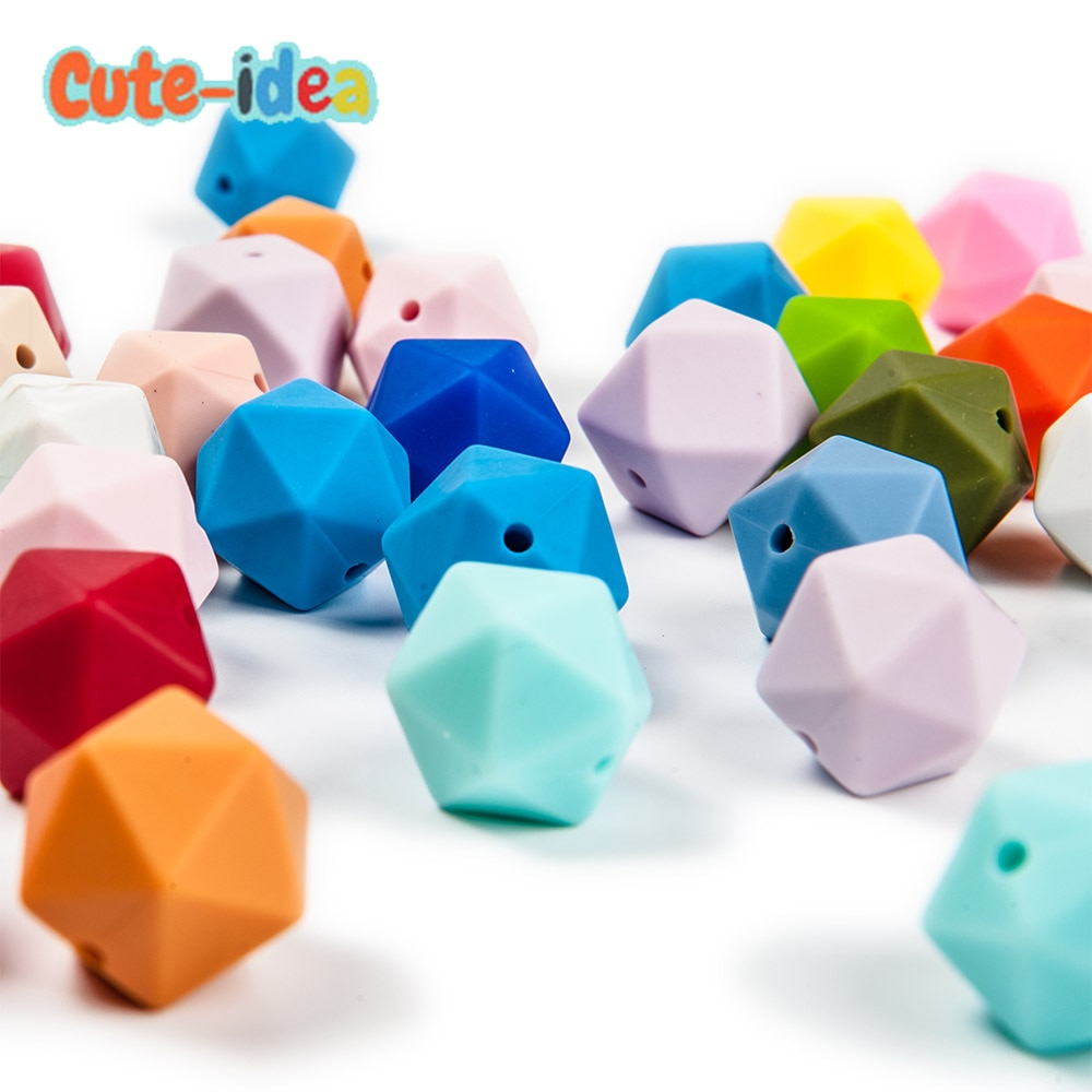 Cute-idea 500pcs Icosahedron Food Grade Silicone Teething Beads 14mm For Baby Nursing Teething Necklace Pacifier baby products