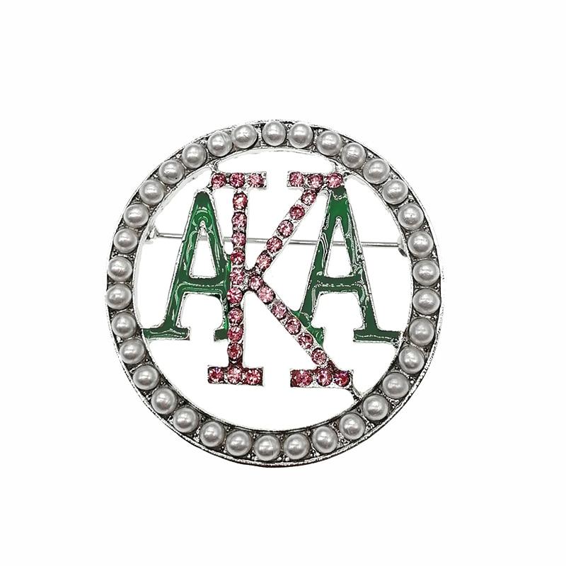 Free shipping Round Alpha Kap Alpha Pink Green Enamel AKA Brooch Pin Sorority Pearl Pink Rhinestone Women Jewelry Gift Brooch