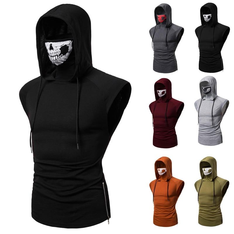 Camiseta superelástico de fitness para hombre, uniforme ninja con capucha sin mangas,...