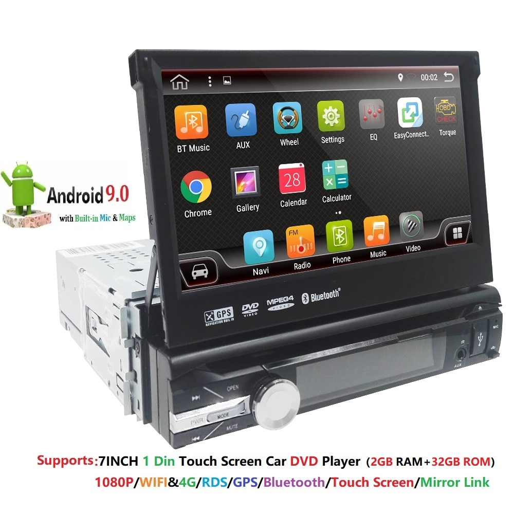 2G RAM 1 Din Android 9 Quad Core 4 para el coche reproductor de DVD Universal GPS navegador estéreo Radio WIFI 4G USB de Audio de SWC volante