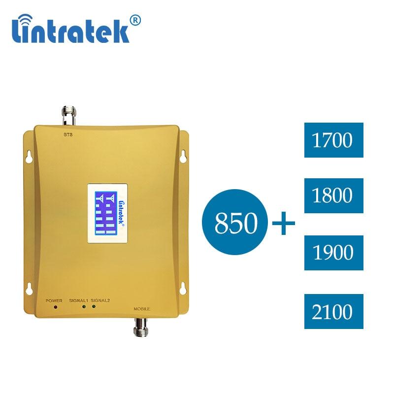 Lintratek 850 2100 B1 2G 3G 1700 UMTS de banda dual dcs 1800 4g lte 1900 cdma 850mhz señal celular repetidor amplificador de dd