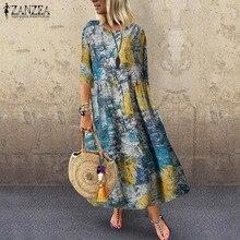 ZANZEA Frauen Sommer Kleid Casual Vintage Floral Gedruckt Sommerkleid Strand Party Vestido Kaftan Femme Halbe Hülse Baumwolle Leinen Kleid