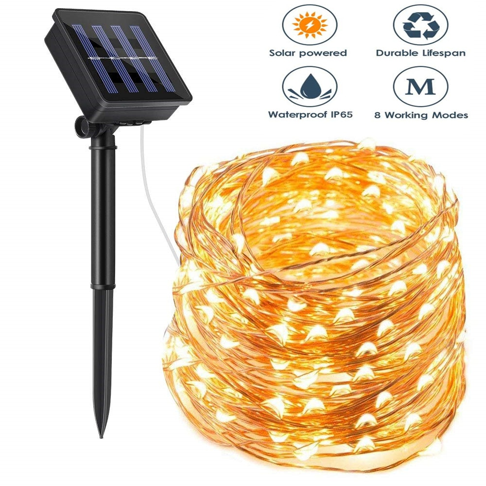 8 Modes Outdoor Solar String Fairy Lights 10M 20M LED Flashing Lamps 100/200leds Waterproof Christmas Decoration for Home Garden