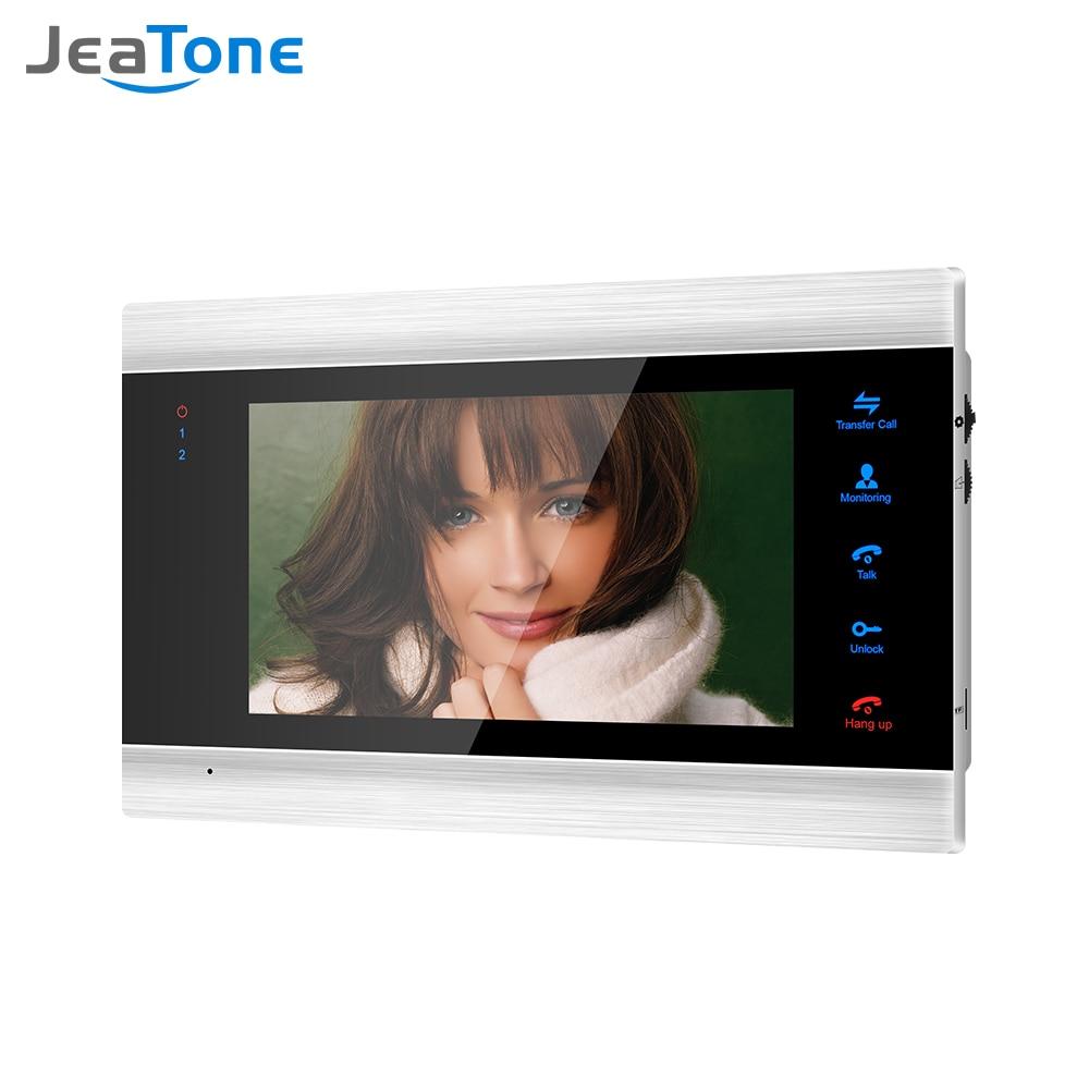 Jeatone-هاتف باب فيديو بشاشة داخلية مقاس 7 بوصات ، وجرس باب ، ونظام اتصال داخلي للصور وتسجيل الفيديو ، وشاشة فضية مثبتة على الحائط