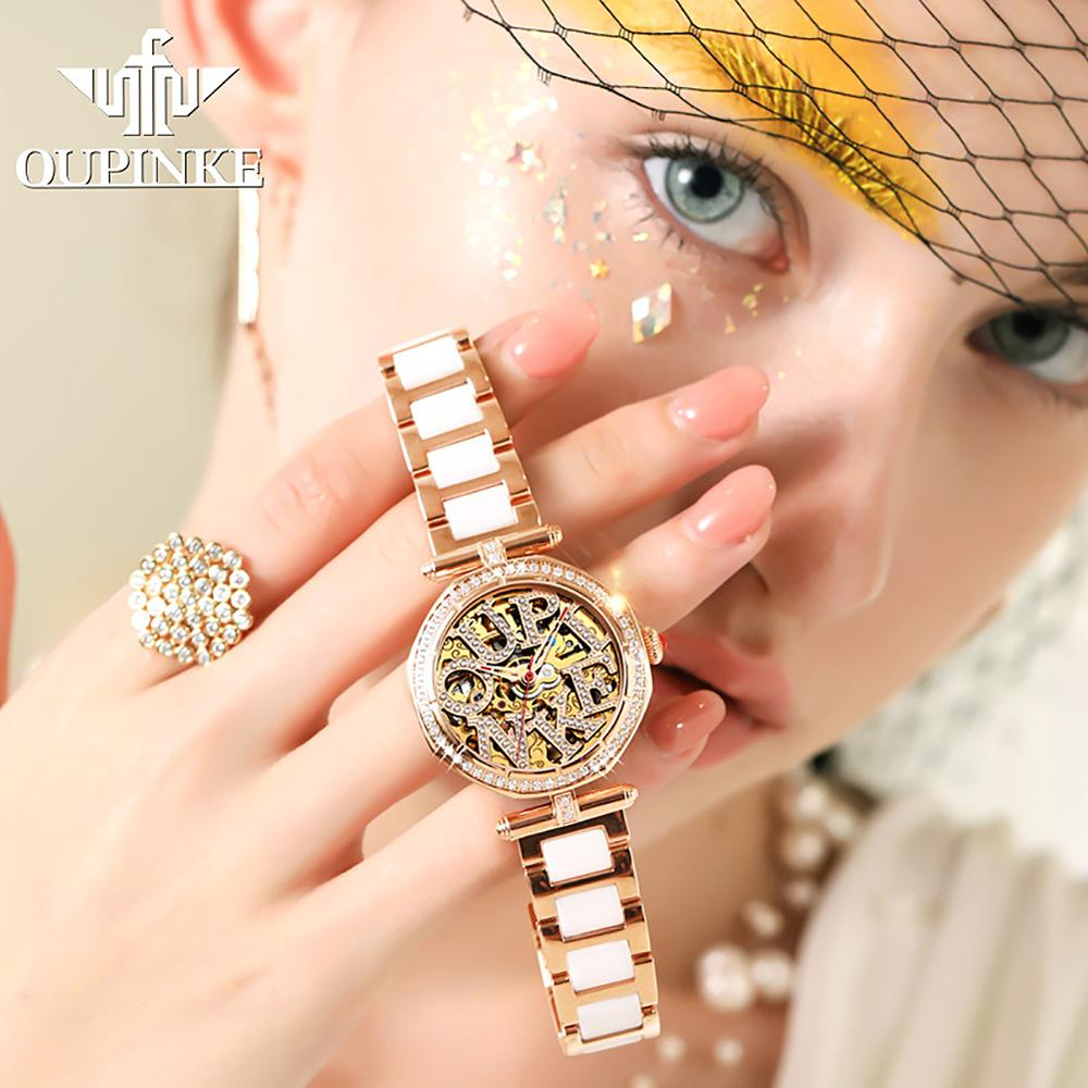 Luxury Brand Automatic Mechanical Watch For Women Stainless Steel Waterproof Ladies Watches Ceramic Strap CE EU Certification enlarge