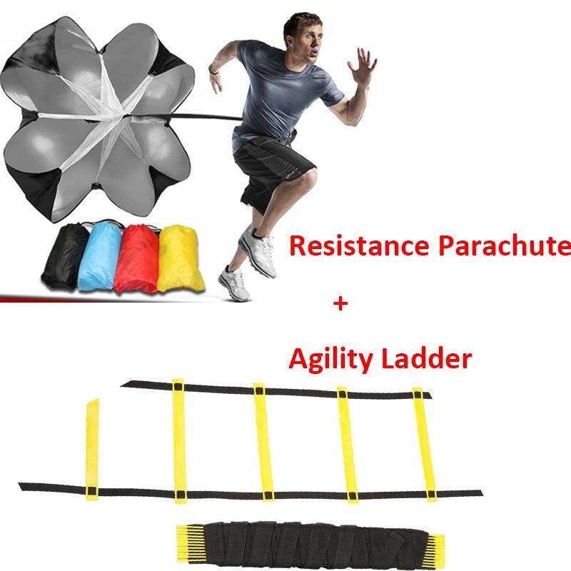 Velocidade Resistência Parachute Correndo Chute Parachute Umbrella & 6m 12 Rung Agilidade Escada para Treinamento de Futebol Futebol Corrida