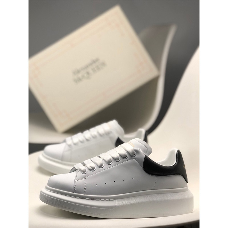 High-quality Imitation cowhide White Shoes, Casual Sports Brand Leather Sneakers, Low-top Fashion, Thick-soled Alexander