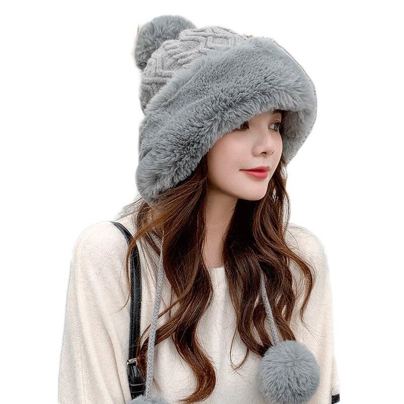 Sparsil Женская осенне-зимняя норковая вязаная шапка-бомбер, Толстая Женская пушистая помпон, уличная теплая ветрозащитная шапка-ушанка, Лыжны...