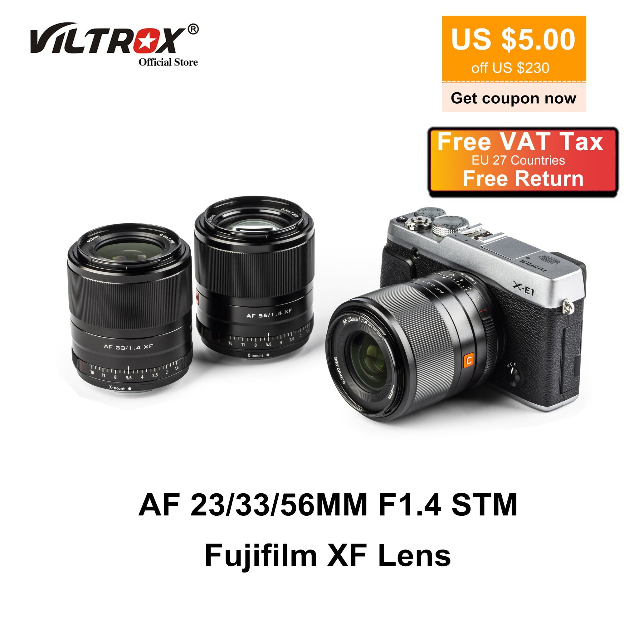 Viltrox 23mm 33mm 56mm F1.4 XF Lens التركيز التلقائي Prime فتحة عدسة كبيرة عدسات بزاوية عريضة لـ Fujifilm Fuji X Mount Camera Lens X-T4 X-T30