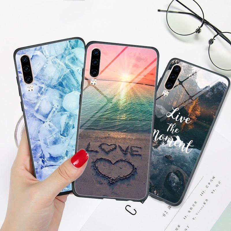 FOR Huawei P30 Lite Case Landscape Phone Back Cover FOR Huawei P Smart Z 2018 2019 Plus P20 Lite P30 PRO P10 P9 P40 E Bumper