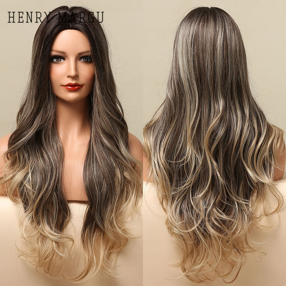 HENRY MARGU Ombre Black Brown Blonde Synthetic Wigs Natural Long Wave Daily Wigs for Women Cosplay Party Heat Resistant Hair Wig