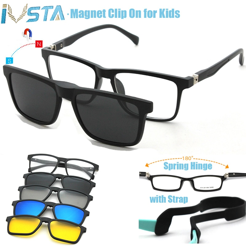 IVSTA Kids Glasses Children Clip On Sunglasses Boys Polarized 3D Myopia Amblyopia Prescription Clips