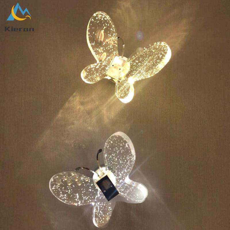 Criativo borboleta de cristal led lâmpadas parede do quarto das crianças decoração da parede luzes parede quarto lâmpada cabeceira simples e moderno arandela