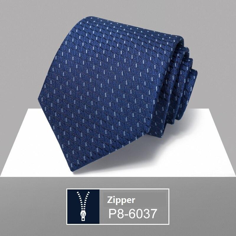 High Quality 2020 Designer New Fashion Plaid Dark Blue 8cm Ties for Men Necktie Wedding Work Business Formal Suit with Gift Box