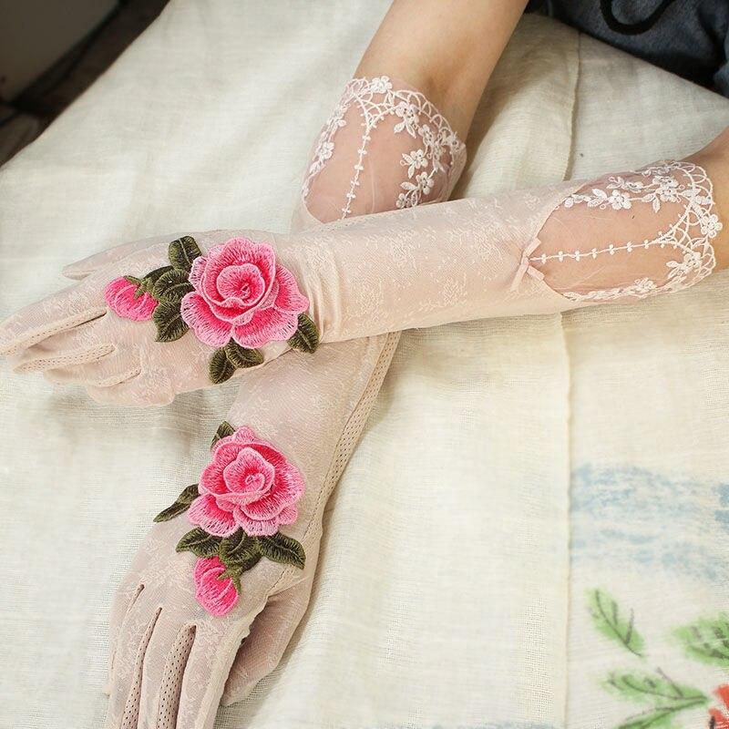 Женские хлопковые длинные перчатки для сенсорного экрана солнцезащитные перчатки для вождения длинные перчатки с 3D цветочным рисунком жен...