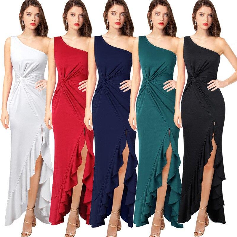 Frauen Einzelnen Schulter Party Kleid Sogar Kleidung Longuette Sleeveless Strand Sommer Elgant Kleider