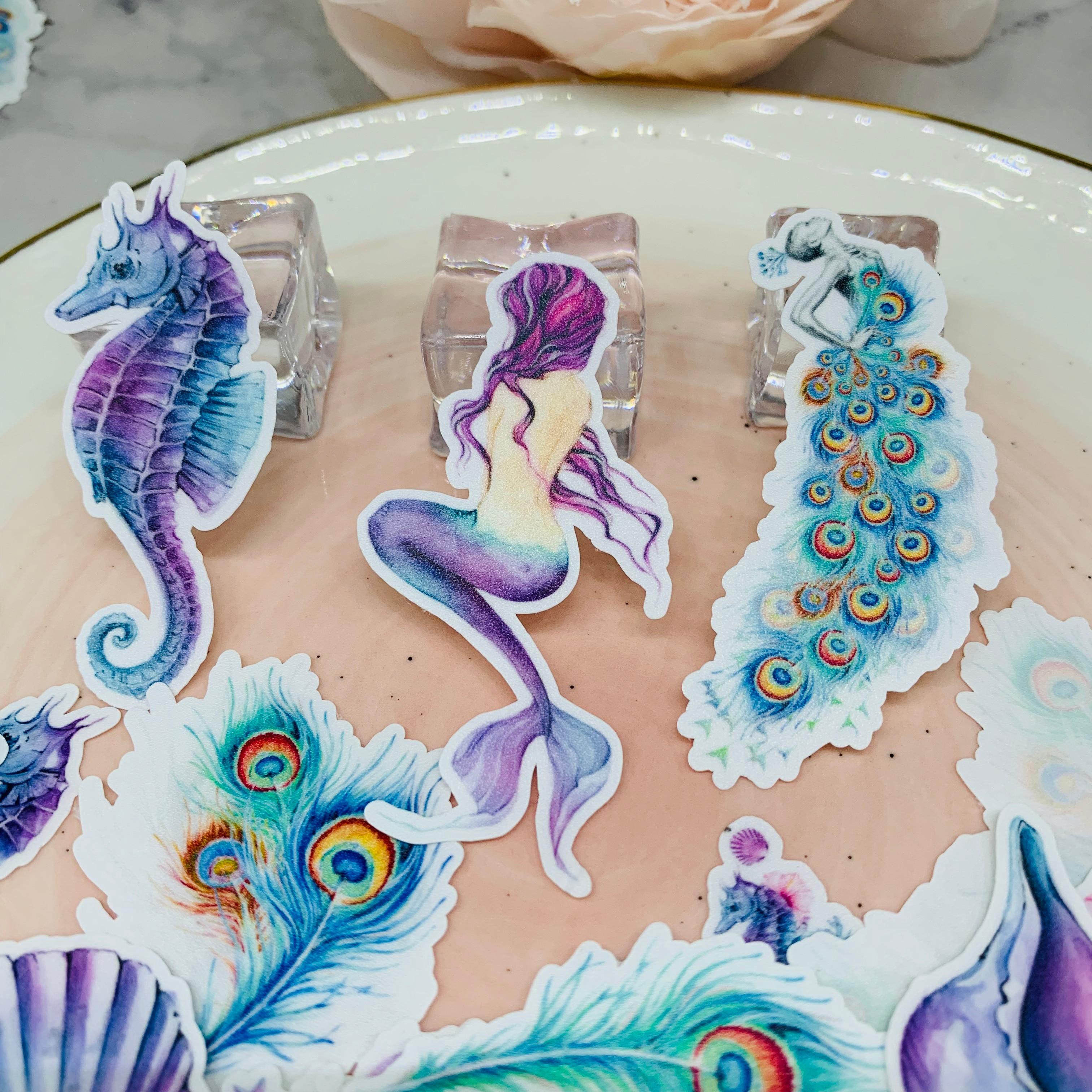 21Pcs/Pack Vintage Mermaid Feather A Hippocampus Sticker DIY Scrapbooking Album Junk Journal Planner Decorative Stickers