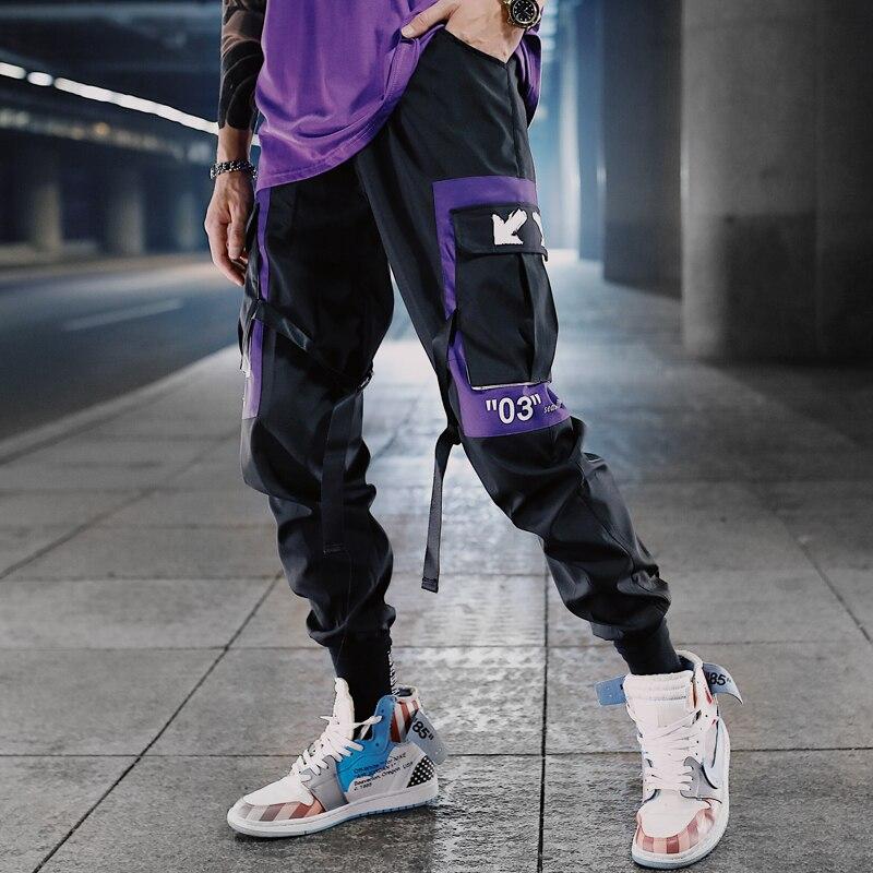 Hip Hop cintas de carga pantalones hombres Joggers Pants Streetwear hombres 2019 moda de hombre cintura elástica pantalón cintas de algodón negro W117