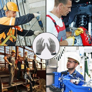Outdoor Work Gloves Gray Anti-cut Safety Cut Proof Stab Resistant Level 5 Protection Wrist Metal Kitchen Butcher  Mechanic Glove