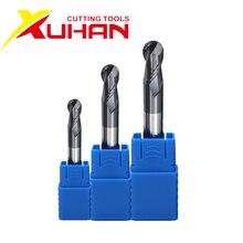 Hrc50 2 flautas bola nariz end mill cortador de carboneto de tungstênio cnc roteador bit fresa ferramentas de corte r0.5 1mm 2mm 3mm 4mm 6mm