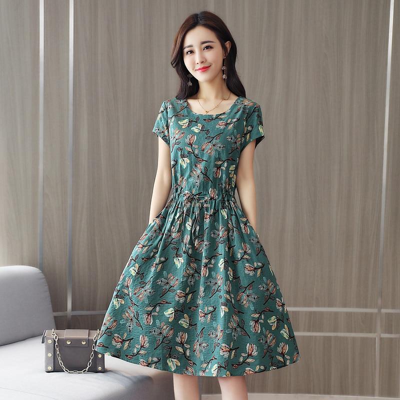 2020 nuevo vestido de línea de algodón Floral leprosy étnico Vintage mujeres temperamento verano Vestido de playa de manga corta M414