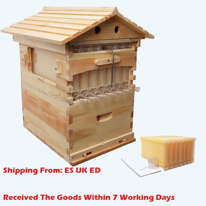 Holz Bienen Box Automatische Holz Bee Nest Bienenzucht Ausrüstung Imker Werkzeug für Bee Hive Versorgung Deutsch Lager Liefern