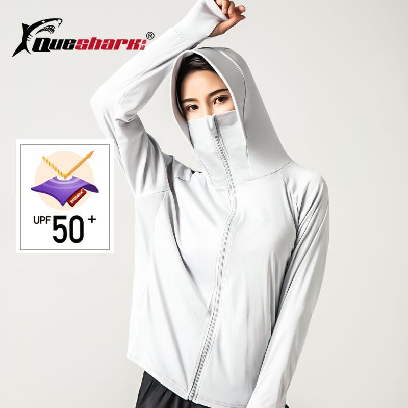 UPF50 + chaqueta protectora solar de verano para acampar, chaqueta de mujer de manga larga con sensación de seda helada con cremallera, abrigo para correr, senderismo, camiseta de escalada con gorro