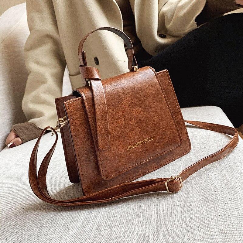 European Style Shoulder Bag New Letter PU Short Handle Women Handbag Fashion Messenger Bag Simple Female Small Square Bag