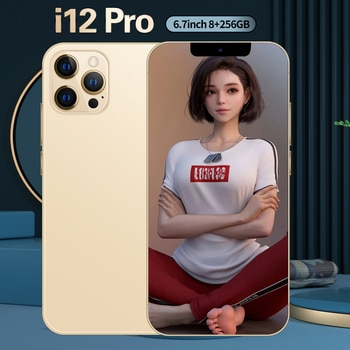 i12 Pro Newest Global Version 5G 6.7 Inch 6800mAh Big Battery 10 Core 8+256GB 16+32MP Dual Card Android 10 Face ID Mobile Phone