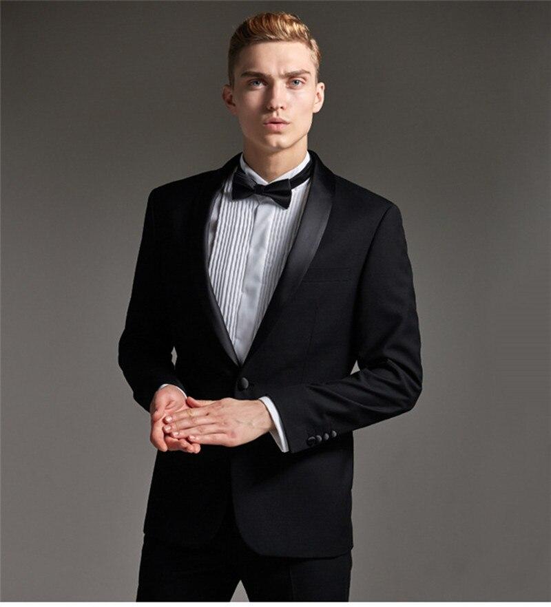 Handsome One Button Groomsmen Shawl Lapel Groom Tuxedos  Men Suits Wedding/Prom/Dinner Best Blazer(Jacket+Pants+Tie) 157